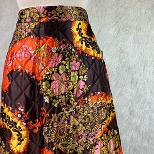 Vintage 70s quilted blanket maxi skirt.
